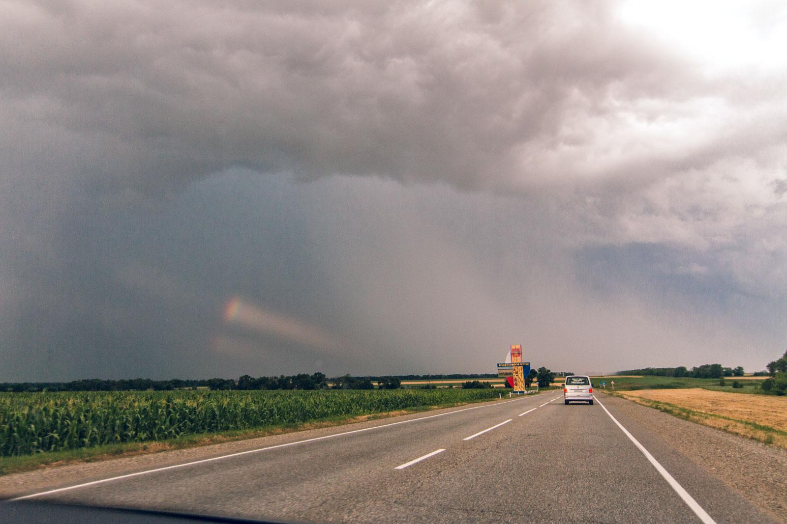 Дорога из Ейска в Краснодар, дождь