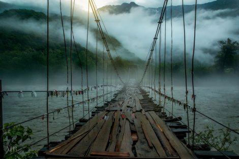 Подвесной мост над рекой Бзыбь